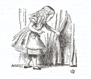 illustrazione di John Tenniel, Alice scosta la tenda. E' la prima apparizione di Alice